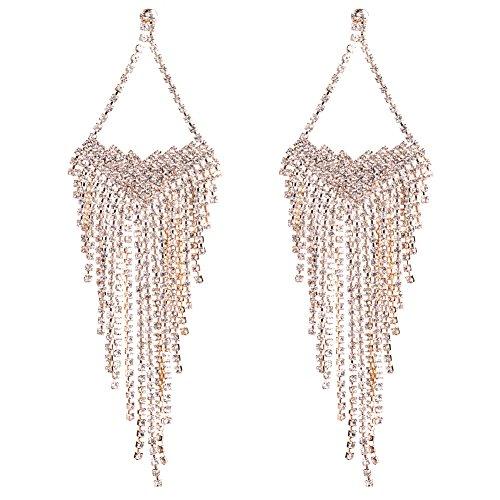 Holylove Gold Shiny Tassel Long Pendant Statement Drop Earrings for Women Bohemian Party Jewelry Dangle Earrings-HLE41 ()