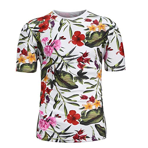 J-paty Summer Men's Plus Size T-Shirt, Floral Printed Short Sleeves O-Neck Color Block Slim Fit Blouse Top Pullover Tee ()