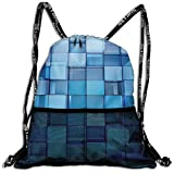 Mr.Roadman 3D Print Leisure Bundle Backpack Abstract 3D Cubes Art Portable Drawstring Bag Travel Bag Yoga Runner Daypack Polyester Shoe Bags