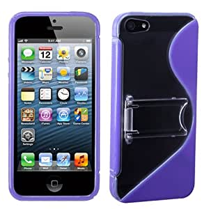 For APPLE iPhone 5/5S Hybrid Gummy Case Cover Clear/Purple S-Shape w/Stand MYBAT