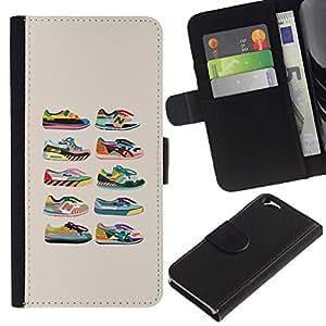 For Apple Apple iPhone 6(4.7 inches),S-type® Sneakers Shoes Trainers Collection Beige - Dibujo PU billetera de cuero Funda Case Caso de la piel de la bolsa protectora