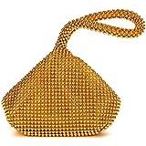 AIJUN Women Evening Clutch Bag Full Trianglar Evening Bags Aluminum Beads Shining Small Purse Ladies' Party Handbag Gold