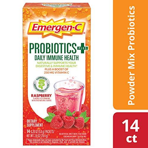 Emergen-C Probiotics+ Vitamin C 250mg (14 Count, Raspberry Flavor) Daily Immune Health Dietary Supplement Drink Mix, 0.20 Ounce Powder Packets