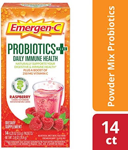 Emergen-C Probiotics+ (14 Count, Raspberry Flavor) Dietary Supplement Fizzy Drink Mix with 250mg Vitamin C, 0.19-Ounce Packets