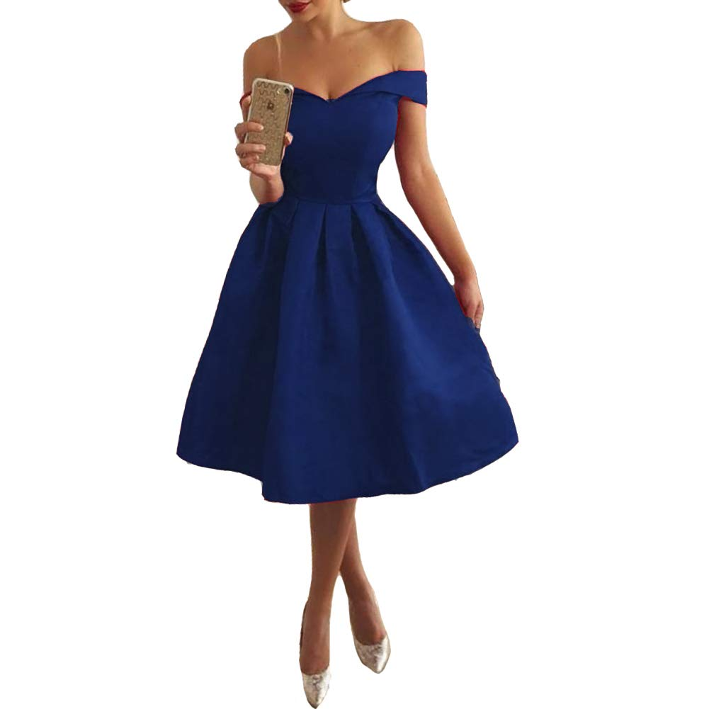 Royal bluee Lemai Short Satin Off The Shoulder Simple Corset Prom Homecoming Dress with Sash