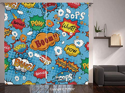 Thermal Insulated Blackout Window Curtain [ Superhero,Famous Comic Strip Speech Balloons Icon Chat Scream Magazine Signs Pop Graphic,Multicolor ] for Living Room Bedroom Dorm Room Classroom Kitchen Ca (Duck Ca Chat)