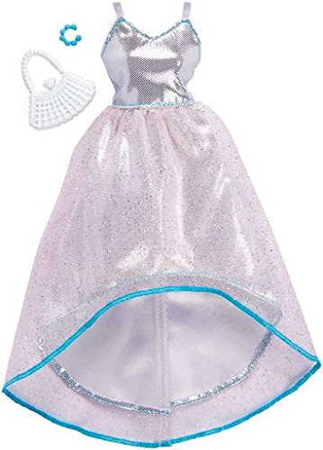 Barbie Fashions Complete Look Silver Opalescent Hi Low Gown ()