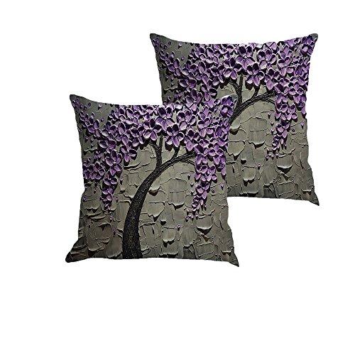 MHB Oil Painting Black Large Tree and Purple Flower Linen De