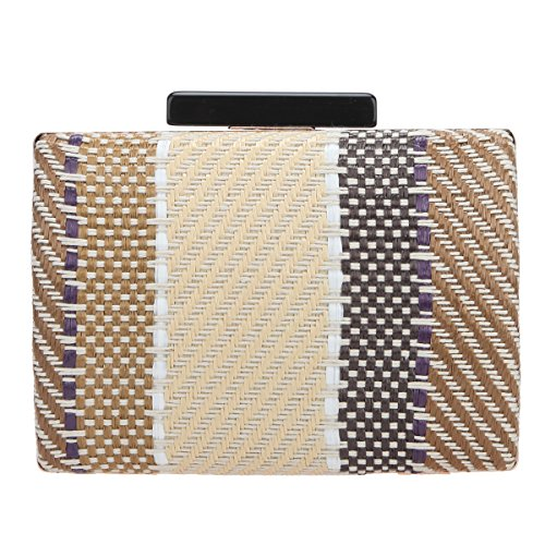 Purse Beige Party Bags Evening Women for Bonjanvye Weave and Clutch Twill Clutches CqFaPz