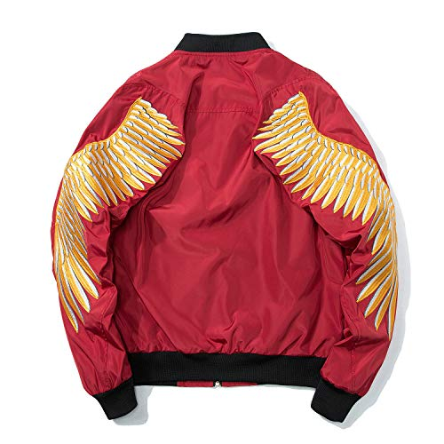 - Carolyn Jones Gold Wing Embroidery Jacket Men Spring Zipper Army Pilot Bomber Jackets Coats Fashion Streetwear Red1 S