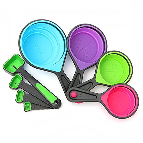 Price comparison product image 8pcs Silicone Collapsible Measuring Cups Spoons Kitchen Tool