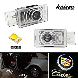 Kaizen 2 Pcs OEM Fit Super Bright LED Laser Ghost Shadow CREE Door Step Courtesy Welcome Light Lamps For Cadillac SRX XTS CAN-bus No Error