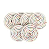 ETECHMART 4 Inch Unique Handcrafted Cotton Woven Round Coasters Quilted Colorful Pattern Pack of 6