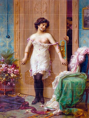 The temptation woman lady door by Hans Zatzka Tile Mural Kitchen Bathroom Wall Backsplash Behind Stove Range Sink Splashback 6x8 4'' Marble, Matte by FlekmanArt