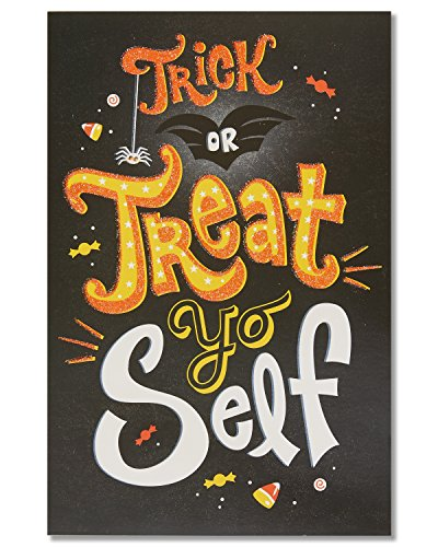 American Greetings Treat Yo Self Halloween Card with Glitter, 6-Count