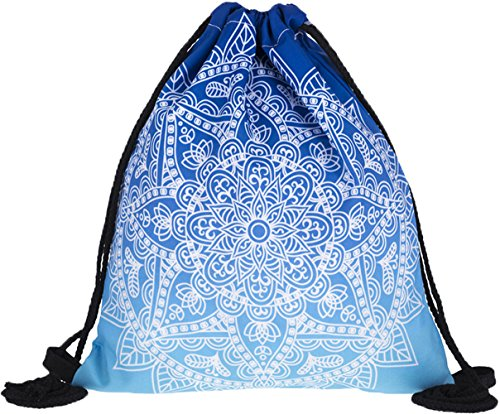 Price comparison product image Ababalaya 3D Print Drawstring Backpack Rucksack Shoulder Bags Gym Bag, Blue Mandala