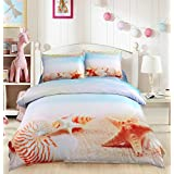 Pretty Beach and Seashell 4 Piece Duvet Cover Set Cotton 3D Print Bedding 2 Pillowcase 1 Flat Sheet 1 Duvet Cover (Full, Yellow)
