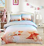Pretty Beach and Seashell 4 Piece Duvet Cover Set Cotton 3D Print Bedding 2 Pillowcase 1 Flat Sheet 1 Duvet Cover (King, Yellow)