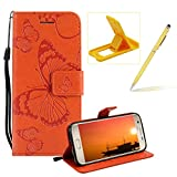 Strap Leather Case for Samsung Galaxy S7 Edge,Wallet Leather Case for Samsung Galaxy S7 Edge,Herzzer Premium Stylish Pretty 3D Orange Butterfly Printed Bookstyle Magnetic Full Body Soft Rubber Flip Portable Carrying Stand Case with Card Holder Slots