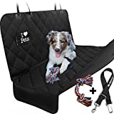Dog Seat Cover for Cars By Starling's- Heavy Duty Waterproof Hammock – Anti-Dirt Quilted Polyester – Non-Slip Bottom & Seat Anchors for Cars & SUV – Come with Pet Car Seat Belts & Dog Toy!
