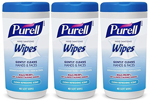 Hand and Face Sanitizing Wipes -3 Refreshing Scent And 3 Fragrance Free Canisters of 40 Count by Purell (Image #1)