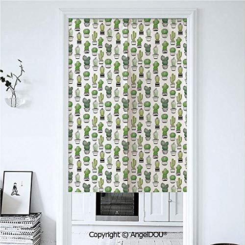 AngelDOU Cactus Doorway Kitchen Cafe Half Tube Curtain Hand Drawn Foliage Pattern -