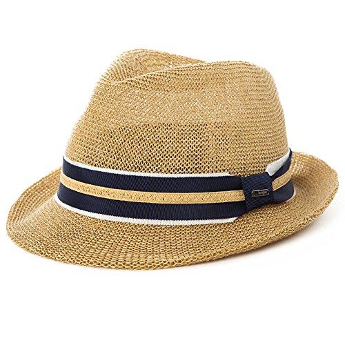 Siggi Mens Panama Summer Trilby Fedora Summer Sun Straw Hats Sunhat Unisex 56-59CM Beige