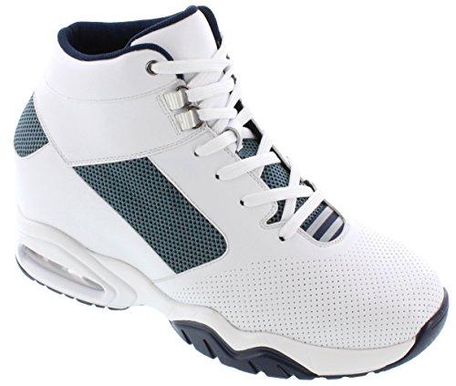 Toto H29012-3.6 Inches Högre - Höjd Öka Hiss Skor - Vit / Blå Mode Sneakers