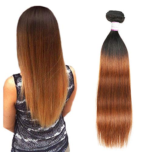 (Feelgrace 2 Tone Ombre Medium Long Single Bundles Brazilian Virgin Remy Straight Sew In Human Hair Extensions 1B/30 Dark Brown/Medium Auburn 20 Inch Single Bundles )