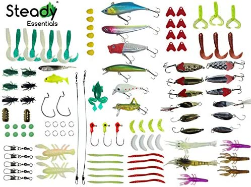 steady Essentials Fishing Tackle Beginner Kit 183 Pcs Assortment, Novice, Bass Worms, Lure Trout, Salmon, Catfish, Metal Hooks, Includes Crankbaits, Bait Jigs, Spoons, Trout Spinner, Soft Plastic