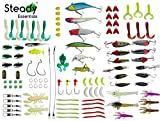 steady Essentials Fishing Tackle Beginner Kit (183 Pcs!!) Assortment, Novice, Bass Worms, Lure Trout, Salmon, Catfish, Metal Hooks, Includes Crankbaits, Bait Jigs, Spoons, Trout Spinner, Soft Plastic