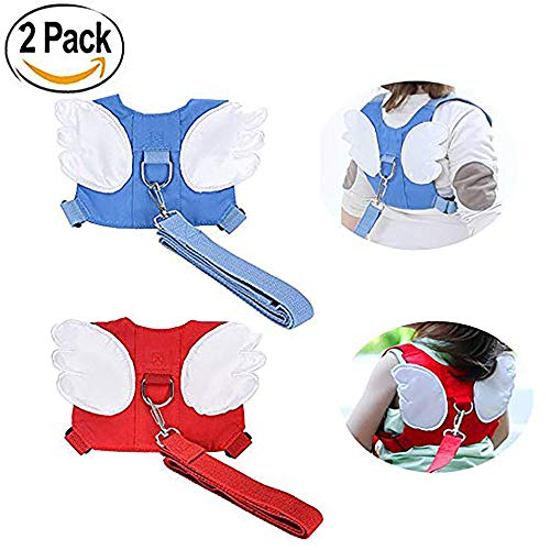 Little Angel Kids Backpack - Baby Safety walking Harness-2 PACK Child Toddler Walking Anti-lost Belt Harness Reins with Leash Kids Assistant Strap Angel Wings Travel Backpack (Blue+Red)