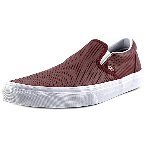 Skateboard Leather Shoe (Vans Unisex Mens Classic Slip On Perf Leather Skate Shoes-Port/Perf Leather-10-Women/8.5-Men)