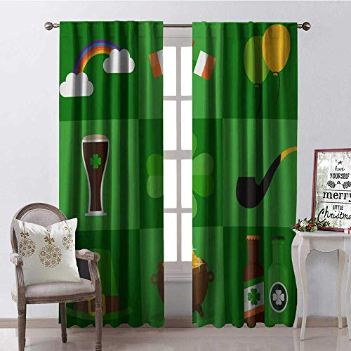 Hengshu Happy St. Patricks Day Hat Co s Beer Irish Flag Clover Window Curtain Drape Customized Curtains W84 x L84