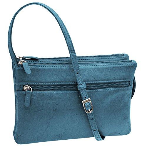 Blue Handbag Jeans Crossbody ili 6300 Leather Zip wRxqWzZY