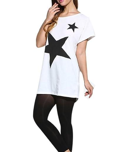 Camiseta Mujer Estampada Estrella Manga Corta Blusa de Verano Camisa Manga Murcielago Cuello Redondo T-shirt Tunica Casual - Lanodove (talla única, ...