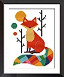 eGoodn Cross Stitch Stamped Kit with Printed Pattern Colorful Fox, 11CT Aida Fabric 11x15 Inch Embroidery...