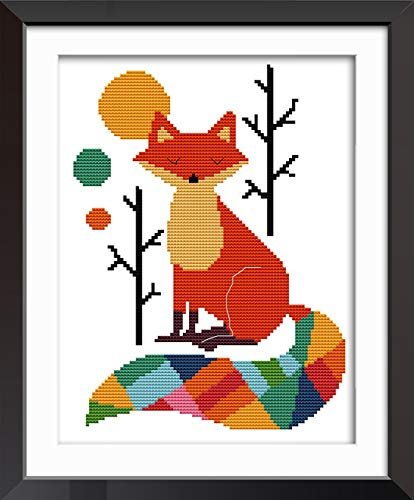 Cross Printed (eGoodn Cross Stitch Stamped Kit with Printed Pattern Colorful Fox, 11CT Aida Fabric 11x15 Inch Embroidery Cross-Stitching Needlework, No Frame)