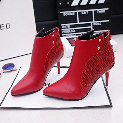AGECC Damen Damen Winter im Herbst und Winter roten kurzen Stiefel Nieten Spitze Schuhe Absatz High Heels Reißverschluss Martin Stiefel Viel Glück für Sie