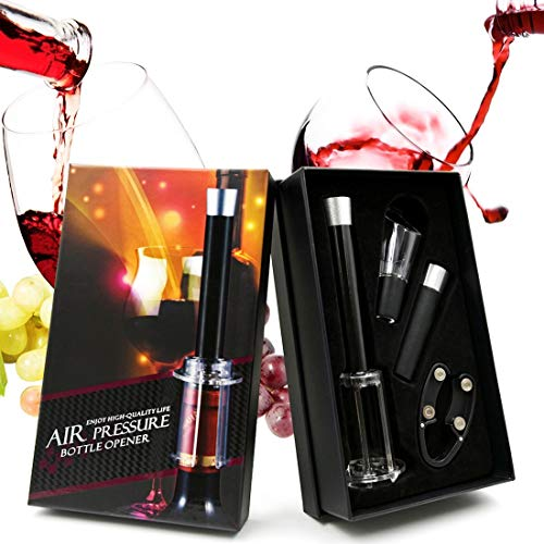 Kasstino 4 in 1 Wine Accessory Tool Kit Handheld Wine Bottle Opener Cork Remover Air Pump Pressure Cutter Vacuum Stopper(Gift Box) - Gift for Wine Lovers ()