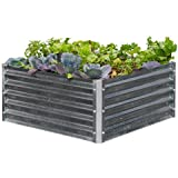EarthMark MGB-H043 Alto Series 40 x 40 x 17 in. Square Galvanized Metal Raised Garden Bed