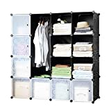 Finnhomy DIY 16 Deep Cube Organizer Storage Cabinet Bookcase Storage Organizer Shoes Storage Modular Storage Cabinet Wardrobe Closet Organizer System for Clothes Toys Black