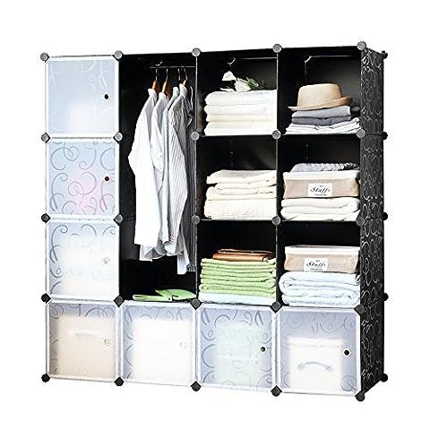 Finnhomy DIY 16 Deep Cube Organizer StorageCabinet Bookcase Storage Organizer Shoes Storage ModularStorageCabinet Wardrobe Closet Organizer System for Clothes Toys - Modular Office Storage
