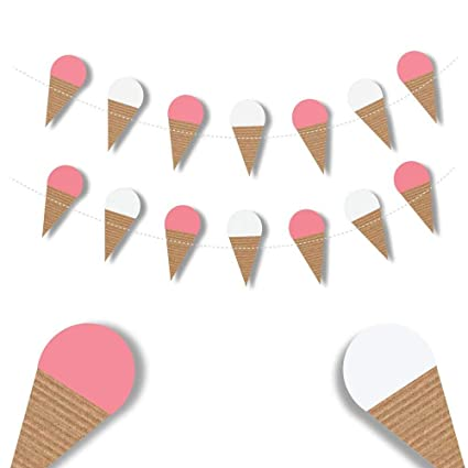 3bc5923bd68a Ice Cream Cone Garland - Photo Props - happy birthday banner - summer  decorations - party decorations - Waffle Cone Banner - Kids room garland  Summer ...