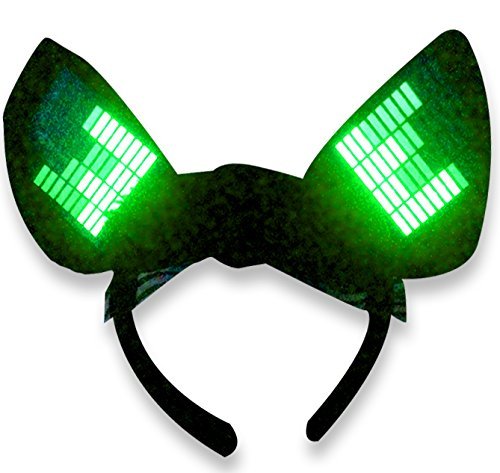 [Original Huboptic JP0 Green Cyber Ears - Light Up DJ Cat Kitty Ears - Neko Ears - Cosplay Ears Rave Dancers EDM Ears Gogo dancer cat woman] (Authentic Catwoman Costumes)