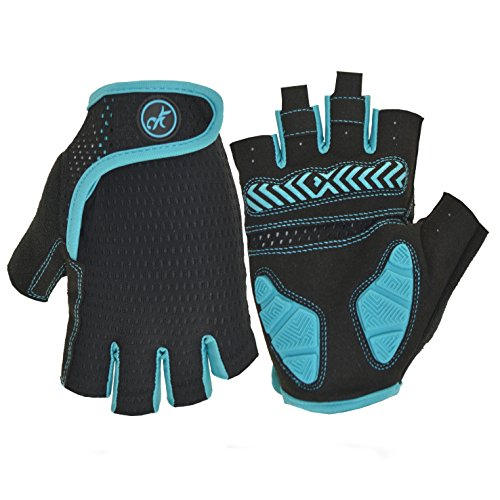 MOREOK Shock-Absorbing Breathable Anti Slip Cycling Gloves Half Finger Outdoor Sport Bicycle Gloves Gel Padded Mountain Road Bike Riding Gloves for Men and Women (Blue&Black, XXL) ()