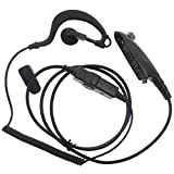 RUKEY Multi-Pin G Shaped Scalable Curly Cable Ear Hook Earpiece Headset for Motorola GP328 HT1250 PRO7150 MTX960 PTX760