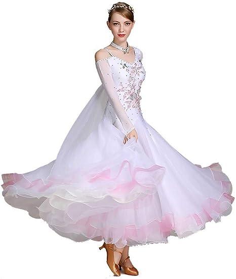 TFF Mujeres Moderno Vals Traje,Blanca Elegante Danza Moderna Falda ...