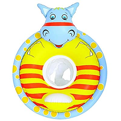 Inflatable Yellow and Blue Hippo Children's Swimming Pool Float, 31.25-Inch: Toys & Games