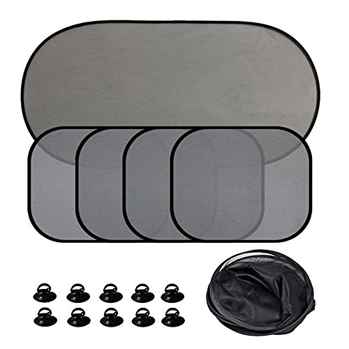 Elisona-5Pcs Car Windows Sun Shade Vehicle Front Rear Side Window Sunshade Windshields Visor Sun Screen UV Protector Windscreen Cover with 10Pcs Suction Cup